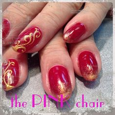 Red and Gold is always pretty... But it's perfect for Christmas gel nails   follow me on Instagram @Matt Nickles Valk Chuah Pink  or find me on Facebook.com/thepinkchairsalon