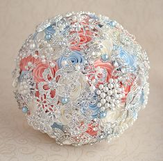 Brooch bouquet. Coral, Blue, Ivory and silver wedding brooch bouquet, Jeweled Bouquet. Made upon request