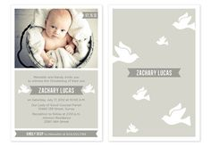Baby Boy Baptism / Christening Invitation with Photo - Doves