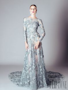 Alfazairy F/W 2016 ice blue floral appliquéd tulle gown
