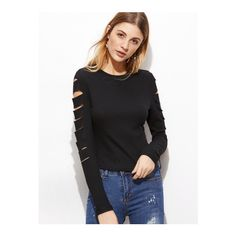 SheIn(sheinside) Black Ripped Sleeve Ribbed Knit T-shirt ($9.99) ❤ liked on Polyvore featuring tops, t-shirts, black, longsleeve tee, distressed t shirt, long sleeve stretch tee, sleeve tee and longsleeve t shirts