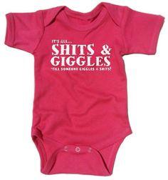 Funny Baby Onesie Gift, Shits and Giggles, Fun Fuchsia Pink Baby Grow, Perfect Gag Gift for Baby Showers, Infant Girl Bodysuit, 3 Sizes on Etsy, $21.50
