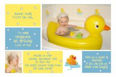 rubber ducky birthday theme | 1st Birthday Invitation for Greyson ~ Rubber Duck Photo Card | And ...