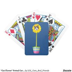 """""""Cat Flower"""" Potted Cat LOL Funny Bicycle Playing Cards"""