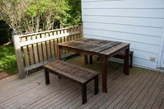 MG 9127 Outdoor Patio Set made with recycled wooden pallets in pallet furniture pallet outdoor project with Table Pallets Outdoor Furniture DIY Pallet Ideas Bench Outdoor Furniture Plans, Diy Pallet Furniture, Diy Pallet Projects, Pallet Ideas, Outdoor Projects, Furniture Ideas, Bench Furniture, System Furniture, Garden Furniture