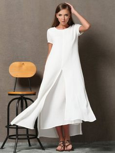 2f82f3db9d Combine Jewelry With Clothing - White Layered Linen Dress - Loose-Fitting  Short Sleeved Side Pockets Long Maxi Dress Plus-Size Clothing - The jewels  are ...