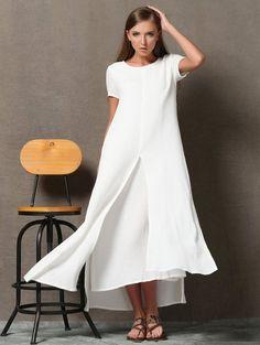Белое льняное длинное платье