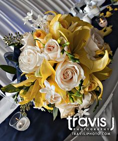 Yellow and white wedding flowers, Travis J Photography, Colorado