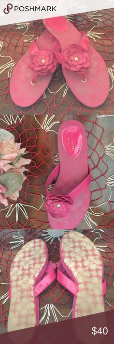 """Coach """"Samira"""" Sandals Coach """"Samira"""" sandals with a slight wedge! Oh so Adorable!! Unfortunately they are a 8B and I have a wide foot😩! I can't sell them as new because I have no tags. I Purchased them at Nordstrom's Rack without trying them out 🤔(didn't think my toe would hang out)😠Anyway Beautiful magenta pink with a flower made of Coach material! Center of flowers stamped Coach. Have a fabulous day and thanks for looking!😍 Coach Shoes Sandals"""