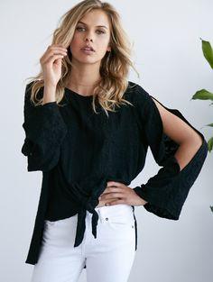 64f6b3fd631c2 Noa Elle Resort 2017 Lookbook - A modern Take on Bohemian clothing - black  tie front top