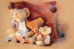 Pastels, Teddy Bear, Toys, Drawings, Painting, Animals, Image, Plushies, Pintura