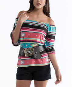 Take a look at this Turquoise & Coral Southwest Off-Shoulder Top - Women & Plus by Rancho Estancia on #zulily today!
