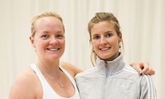 Britain's beach volleyball players Shauna Mullin and Zara Dampney