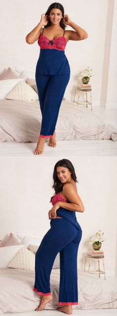 This navy and pink pj set will leave you daydreaming about getting back in bed.