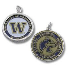 This unique new University of Washington charm/pendant is two-sided and made of base-metal with enamel detailing.The bezel (the outer rim that holds the medallion) and the bail are made of genuine sterling silver.  This pendant measures about 26mm in diameter.Includes one sterling silver link so that you can easily attach it to any necklace chain or bracelet.   Shop for more University of Washington Huskies jewelry