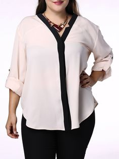 Trendy V-Neck Hit Color 3/4 Sleeve Plus Size Blouse For Women