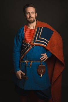 """Viking man clothing: replica of Gokstad. Weaving, sewing and dyeing by hands. Crafter is Kovaleva Alina (craftroom is """"Скупая Хель"""")"""