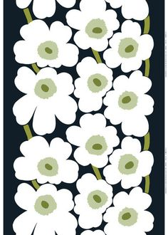 Unikko Sateen Fabric Black/White/Green   Kiitos Marimekko