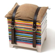 Hocker! Want this! Selfmade: Just take two flat planks, and a tension belt to secure http://www.evamania.de/