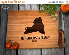New York Shaped Bamboo Wood Cutting Board Engraved home Personalized For New Family Home Housewarming Wedding Moving Gift
