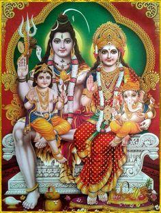 Lord Shiva And Family (Parvati, Lord Ganesha/Vinayaga and Lord Kartikeya/Muruga) 🕉 Shiva Parvati Images, Lakshmi Images, Mahakal Shiva, Shiva Art, Krishna, Hanuman, Lord Shiva Pics, Lord Shiva Family, Arte Shiva