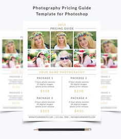 Photography Pricing Guide Template 002 for by NMDesignStudioShop