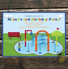 Splash Pad Birthday Invite