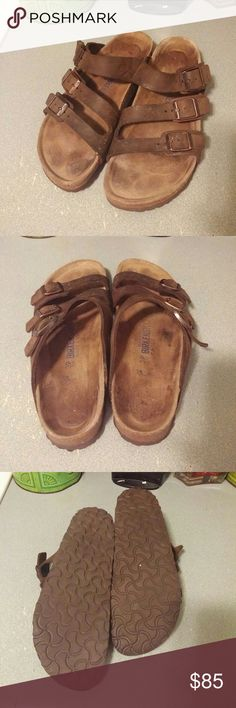 Birkenstock Brown Leather Soft Footbed sz 39 N 3 strap Birkenstock Brown leather soft footbed sandal. Great condition. No sole wear. Light print. Freshly cleaned. Will fit an 8.5 - 9. German Narrow equates to US Regular. Soft footbed are cushioned.  Similar style is florida. Offers considered. Birkenstock Shoes Sandals