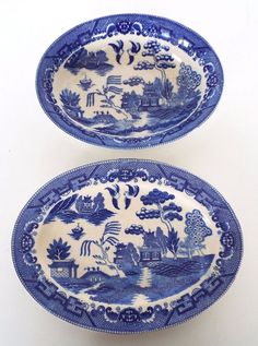 2 PC LOT VINTAGE BLUE WILLOW Y.S. CHINA OCCUPIED JAPAN OVAL PLATTER SERVING BOWL #YS  sc 1 st  Pinterest & 10 PC LOT VINTAGE BLUE WILLOW MARUTA CHINA OCCUPIED JAPAN DINNERWARE ...