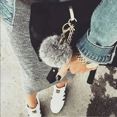 Two-tone gray fuzzy ball keychain Brand-new just using top shop to get more viewers Topshop Accessories Key & Card Holders