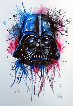 Darth Vader Splatter watercolor painting by www.fiona-clarke.com
