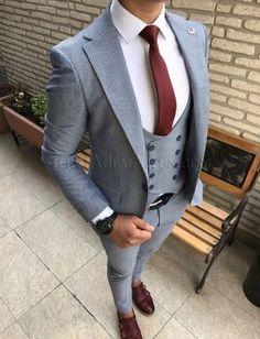 Terziademaltun - İtalyan stil cepken yelekli erkek takım elbise slim fit T1761 (1)