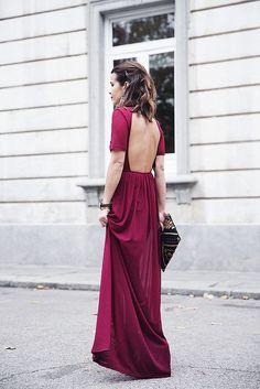 Fuchsia long dress with open back. Fashion style.