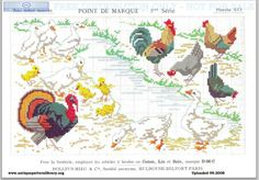 Dillmont, Th. de, ed. D.M.C. Point de Marque [5] 5me Serié, Mulhouse, Dollfus Mieg & Cie (first pub c.1920). Art deco. Page 19. Chickens, chicks, roosters, turkey