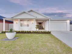 Real estate for sale - 27 sturrock drive - boorooma , nsw. House Exterior Color Schemes, White Exterior Houses, House Paint Exterior, Cottage Exterior, Hamptons Style Homes, Hamptons House, Facade Design, Exterior Design, House Design