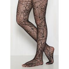 Web, Where, and Why Tights ($13) ❤ liked on Polyvore featuring intimates, hosiery, tights, nylon pantyhose, nylon tights, spider web tights, nylon stockings and nylon hosiery