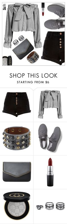 """""""50 shades of grey"""" by simona-altobelli ❤ liked on Polyvore featuring River Island, Keds, Urban Expressions, MAC Cosmetics, Gucci and Lulu*s"""