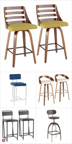 Counter And Bar Stools Counter Stools With Backs, Bar Stools, Find Furniture, Living Room Furniture, Light Wood Kitchens, White Shaker Kitchen, Mid Century Modern Kitchen, Vintage Industrial Decor, Ergonomic Chair