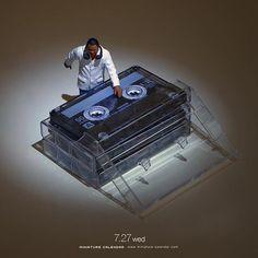 ". 7.27 wed ""DJ"" . 「朝までお前をロックオン♬3倍速で録音♬」 . #カセットテープ #ターンテーブル #CassetteTape #Turntable #歌詞がダサい . ーーーーーーーーー Exhibition in Hong Kong 23Jul-31Aug Check the Link of my profile. #minipricerite ."