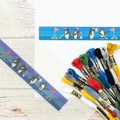 #Penguins on Par Needlepoint Belt Canvas Do-it-yourself needlepoint #canvas where you do the stitching. 🐧 #lovegolf Needlepoint Belts, Needlepoint Designs, Needlepoint Canvases, Dmc Embroidery Floss, Design Your Own, Penguins, Stitching, Monogram, Personalized Items