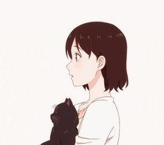 kanojo to kanojo no neko, she and her cat, daru, miyu Neko, Gato Anime, Manga Anime, Kawaii Anime Girl, Anime Art Girl, She And Her Cat, Anime Love Story, Dream Anime, A Silent Voice