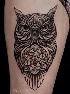 ornamental owl tattoo designs © tattoo studio Must Have Tattoo ? Today we're going to step again into the world of animal tattoos bringing you 50 of the most beautiful owl tattoo designs, explaining their meaning. Geometric Owl Tattoo, Floral Mandala Tattoo, Mandala Tattoo Design, Unique Tattoo Designs, Tattoo Designs For Women, Tattoos For Women Small, Owl Forearm Tattoo, Side Boob Tattoo, Tattoo Owl