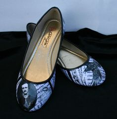 Edgar Allan Poe Flats Poe Shoes The Raven Flats by LeadFootLucy
