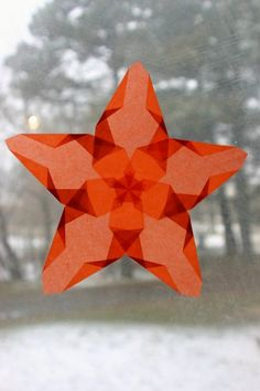 Orange Window Star with Five Points by harvestmoonbyhand on Etsy, $10.00