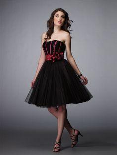 A-line Strapless Black Flower Satin Knee-length Prom Dress at Millybridal.com