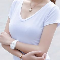 women summer fashion style cotton V neck short solid t shirt lady tees tops white candy color tops