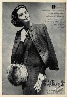 1950s fashion ads | Wool Tweed Suit B Altman Fashion (1957)