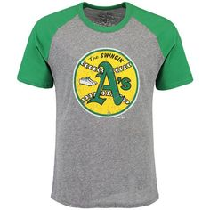 b3fcf6d9d Oakland Athletics Majestic Threads Cooperstown Collection Raglan Tri-Blend T -Shirt - Heathered Gray/Green