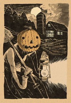 Your place to buy and sell all things handmade - Dirt Work // Open Edition // Halloween 2016 - Halloween 2016, Halloween Art, Halloween Pictures, Happy Halloween, Vintage Halloween Cards, Spooky Scary, Creepy, Over The Garden Wall, Halloween Wallpaper