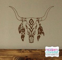 BoHo Bull Skull with Feathers Vinyl Wall Decal Bohemian Theme Decor Feather Indian Style